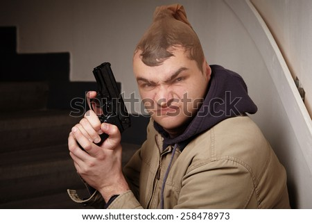 Masked criminal hidden in stocking - stock photo