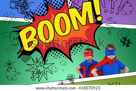 Masked kids pretending to be superheroes against the word boom - stock photo