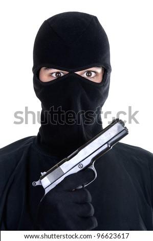 Masked man aims with gun on white background - stock photo