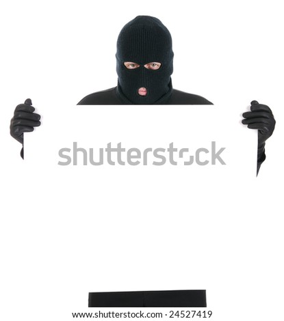Masked thief - Your message here - isolated over the white background - stock photo