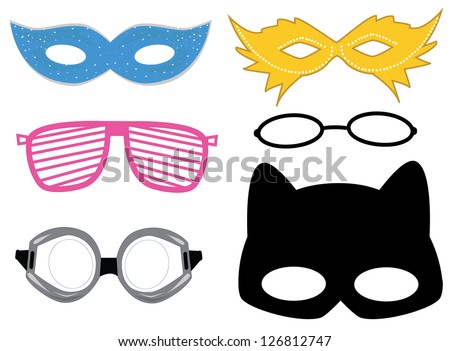 Masks and glasses set raster version - stock photo