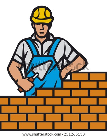 mason with brick and trowel in hand (construction mason worker installing brick with trowel, bricklayer holding a trowel working on brick wall) - stock photo