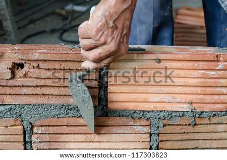 Masonry,Building construction - stock photo