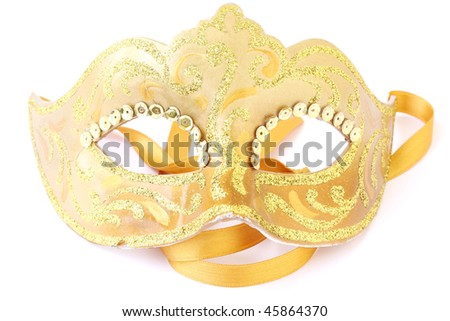 masquerade female golden theatrical mask isolated on a white background - stock photo