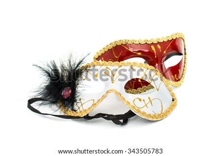 masquerade mask on a white background - stock photo