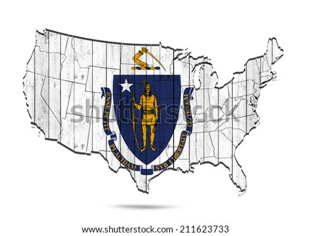 Massachusetts flag with America map and white background - stock photo