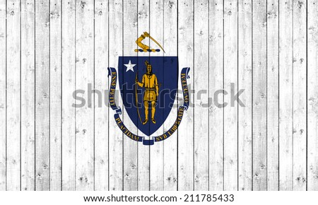 Massachusetts flag with wood background - stock photo