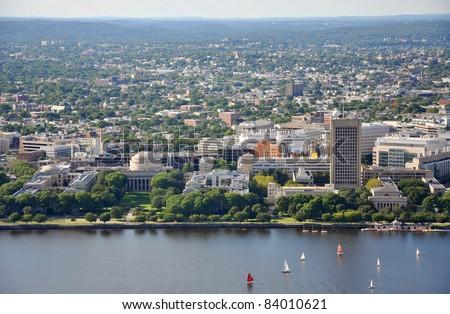 Massachusetts Institute of Technology (MIT) Aerial view, Cambridge, Massachusetts, USA - stock photo