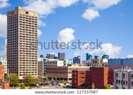 Massachusetts Institute of Technology (MIT) view of buildings and skyline in Kendall Square - stock photo