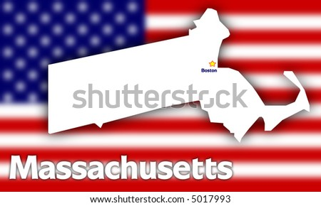 Massachusetts state contour with Capital City against blurred USA flag - stock photo