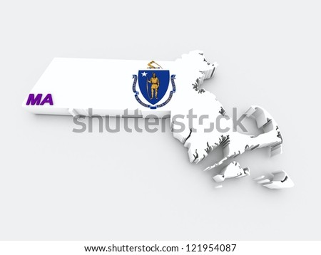 massachusetts state flag on 3d map - stock photo