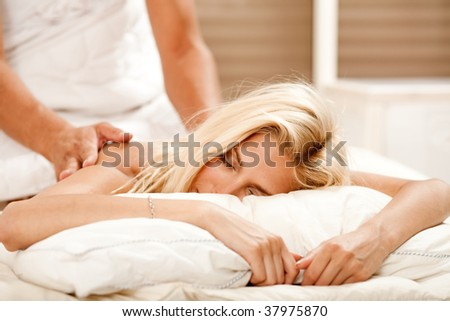 Massage at day spa - stock photo