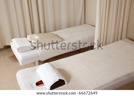 massage beds in a massage clinic - stock photo