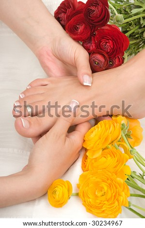 Massage in a spa - stock photo
