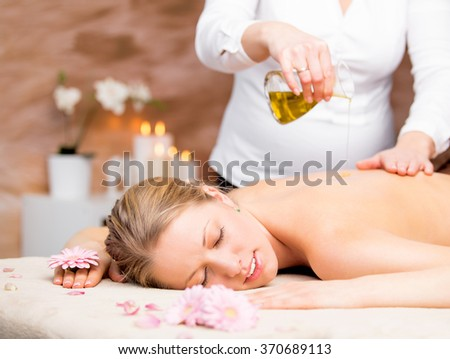 Massage in the spa - stock photo