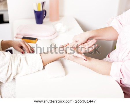 Massage therapist massaging hands,Hand Massage  - stock photo