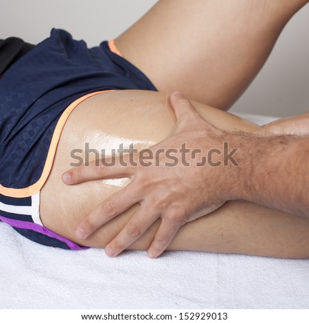 massage therapist working - stock photo