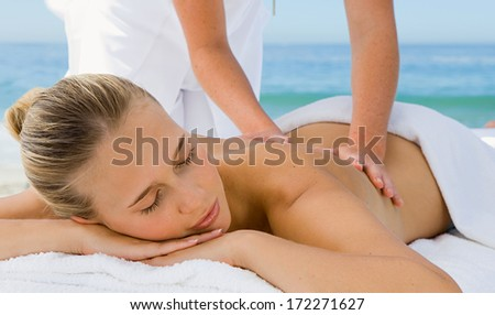 massage therapy woman - stock photo