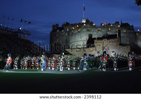 massed pipes & drums, Edinburgh Military Tattoo 2006 - stock photo