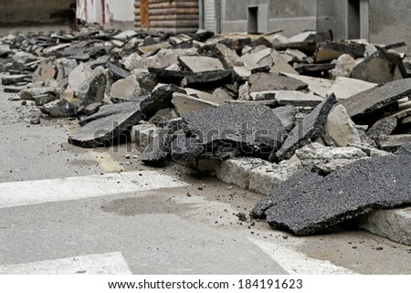 Massive asphalt damage with cracks at street - stock photo