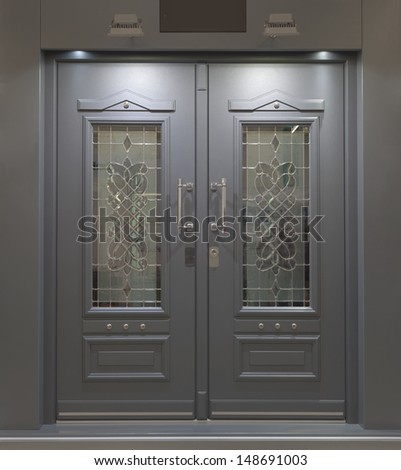 Massive Fire Proff Front Aluminum Door - stock photo