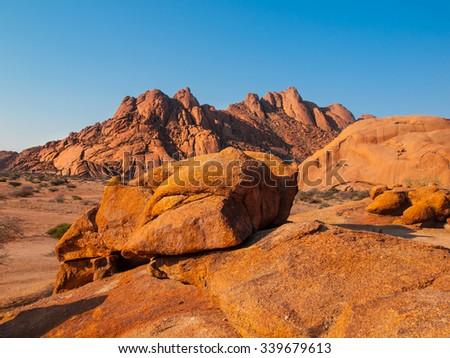 Massive granite rock formations, Spitzkoppe area, Namibia - stock photo