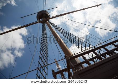 Mast and rigging on a sailing wooden ship. - stock photo