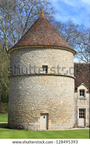 Mast of the Abbaye de Fontenay, Burgundy, France - stock photo
