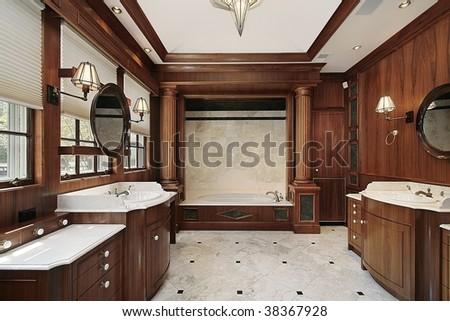 Master bath in contemporary home - stock photo