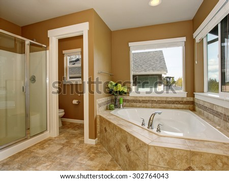 Master bathroom with large mirror and luxury bathtub. - stock photo
