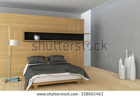 master bedroom in wood with concrete wall - stock photo