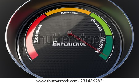 Master concept with tachometer gauge. Render image - stock photo