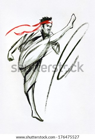 Master of oriental martial arts. Fighter. Ink and watercolor on paper painting.  - stock photo