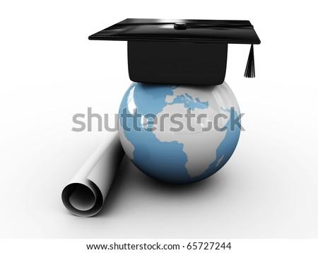 Master's cap for graduates in the globe. 3D - stock photo