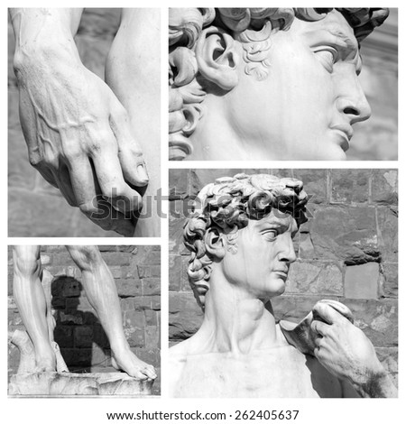 masterpiece of fine art -  David by Michelangelo puzzle,  Florence, Tuscany,Europe  - stock photo