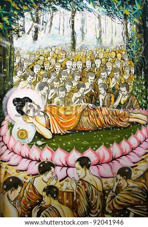 masterpiece of traditional Thai style painting art old about Buddha story on temple wall,  Bangkok,Thailand - stock photo