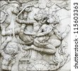 masterpiece of traditional Thai style stucco art old about Ramayana story on temple decorative wall at Wat Panan Choeng temple, Ayutthaya, Thailand. World Heritage Site - stock photo