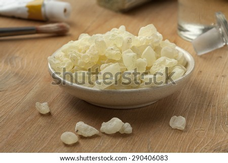 Mastic tears of Chios to use as varnish for paintings - stock photo