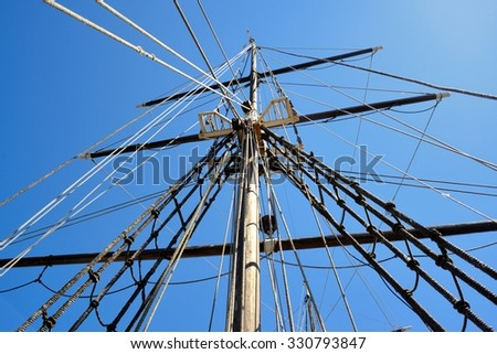 Masting of big wooden sailing ship, detailed rigging without sails - stock photo
