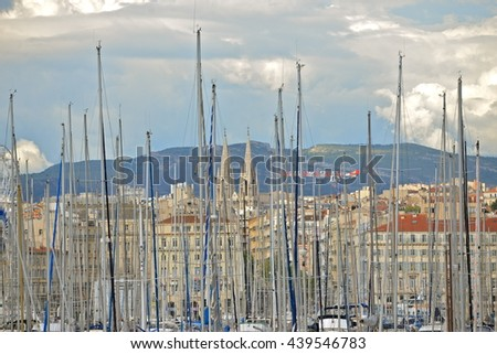 Masts in Marseille harbor, France - stock photo