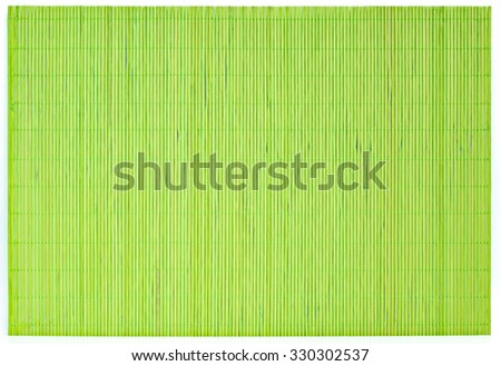 Mat made of wooden sticks texture background. Green bamboo mate isolated on white. - stock photo