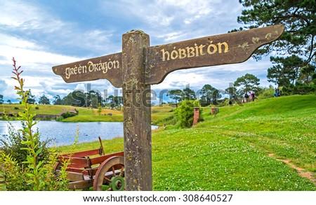 Matamata, HOBBITON - for film HOBBIT and LORD OF THE RINGS. New Zealand - 27.12.2014 - stock photo
