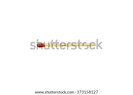 Match, a tool for starting a fire. One end is coated with a material that can be ignited by frictional heat generated by striking the match against a suitable surface. Isolated on white background. - stock photo