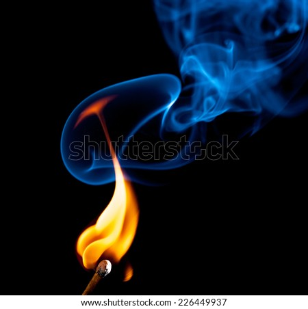 match bursting with incredible smoke cloud - stock photo