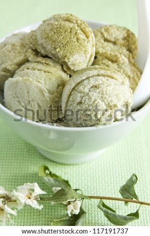 Matcha Ice cream - stock photo