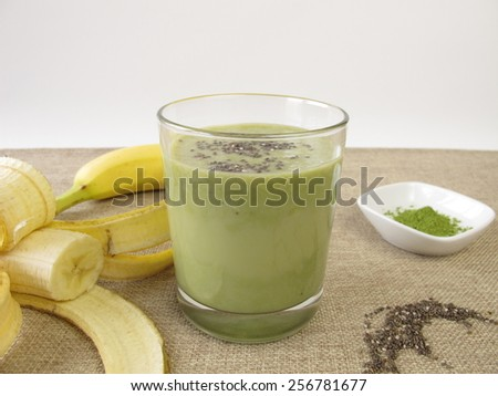 Matcha shake with banana and chia seeds - stock photo