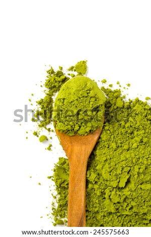 Matcha tea isolated on white - stock photo