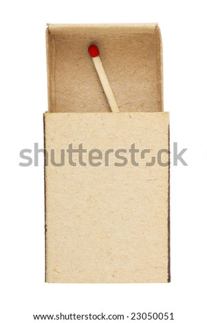 Matchbox and last match isolated on white background - stock photo