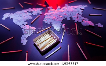 Matches around the world mosaic made of small papers. - stock photo