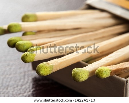 Matches in the box,for fire,smoking, ignition themes - stock photo